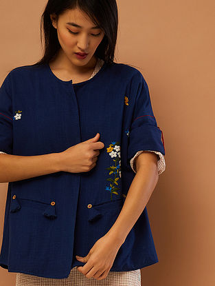 Blue Hand-embroidered Cotton Jacket