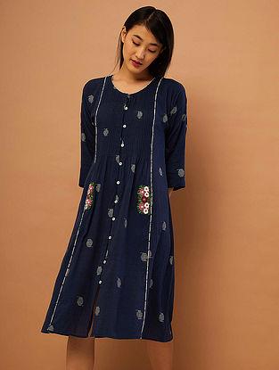 Blue Hand-embroidered Cotton Kurta