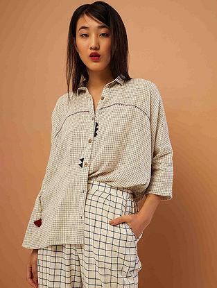 Beige-Black Hand-embroidered Cotton Shirt