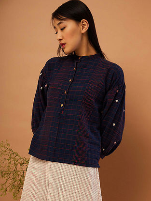 Blue Hand-embroidered Cotton Top