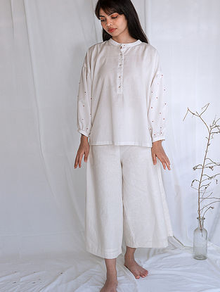 Ivory Hand-embroidered Handwoven Cotton Top