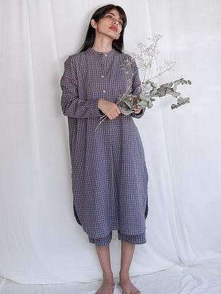 Grey Hand-embroidered Handwoven Cotton Tunic