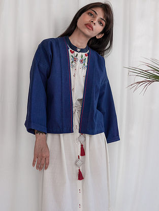 Navy Hand-embroidered Cotton Jacket