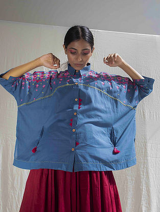 Cottage Blue Hand Embroidered Cotton Shirt