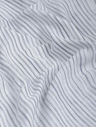 White-Black Striped Khadi-Cotton Fabric