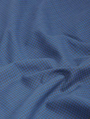 Blue-Black Checkered Khadi-Cotton Fabric