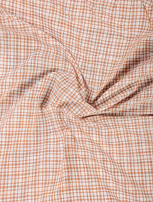 Orange-Ivory Handloom Cotton Fabric