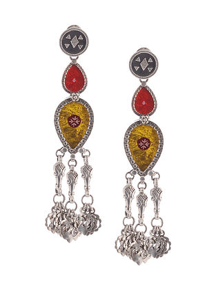 Red-Yellow Glass Tribal Silver Earrings