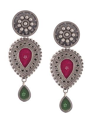 Pink-Green Glass Tribal Silver Earrings
