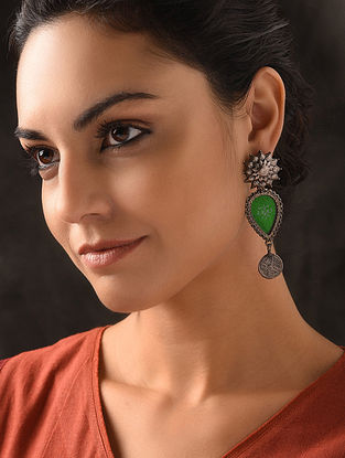 Green Glass Tribal Silver Earrings with Floral Design