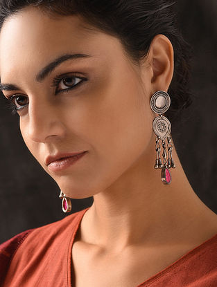 Pink Glass Tribal Silver Earrings with Floral Motif
