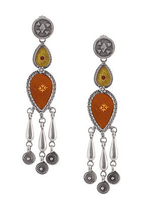 Orange-Yellow Glass Tribal Silver Earrings
