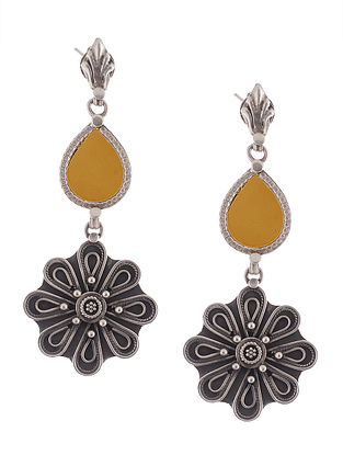 Yellow Glass Tribal Silver Earrings with Floral Design