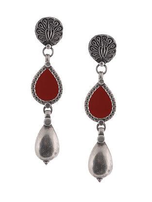 Maroon Glass Tribal Silver Earrings