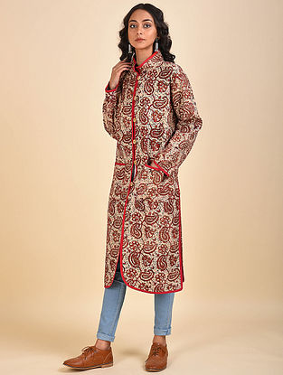 Multicolored Printed Cotton Jacket with Kantha Details