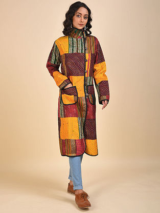 Multicolored Patchwork Silk Jacket with Kantha Details