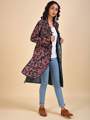 Multicolored Printed Reversible Cotton Jacket with Kantha Details