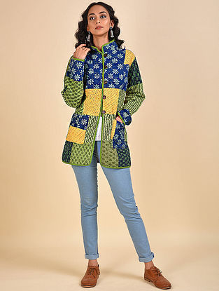 Multicolored Patchwork Reversible Cotton and Wool Jacket with Kantha Details