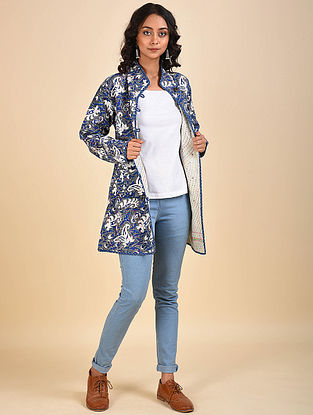 Multicolored Printed Reversible Cotton and Wool Jacket with Kantha Details