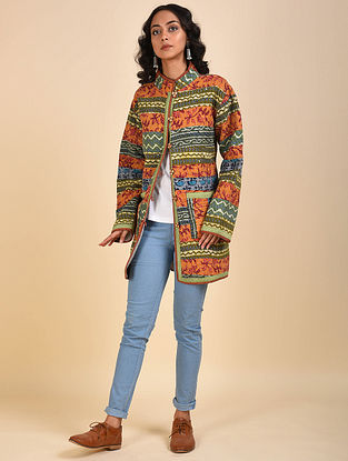 Multicolored Patchwork Reversible Cotton and Woolen Jacket with Kantha Details