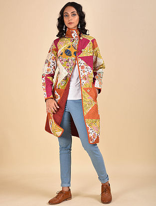 Multicolored Patch Work Cotton Jacket with Kantha Details