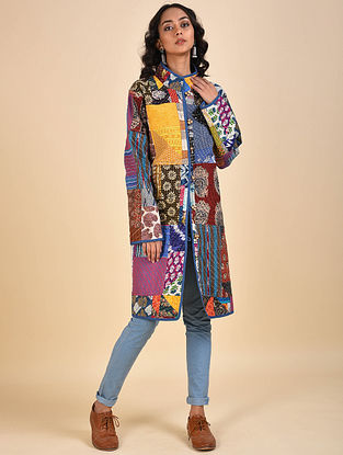 Multicolored Patchwork Cotton Jacket with Kantha Details