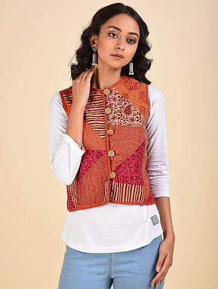 Multicolored Patchwork Reversible Cotton Jacket with Kantha Details