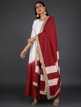 Red Hand-Dyed Cotton Dupatta