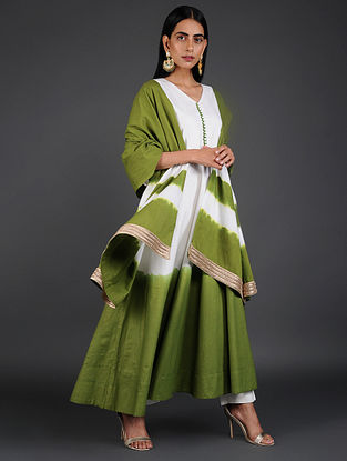 Green Hand-Dyed Cotton Dupatta