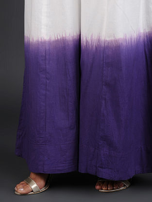 White-Violet Hand-Dyed Cotton Palazzo