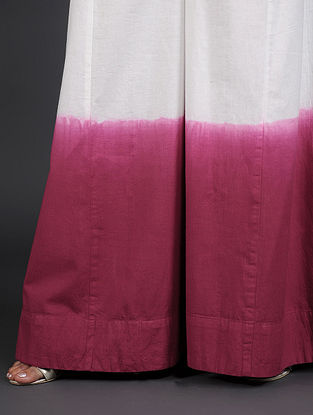 White-Red Hand-Dyed Cotton Palazzo
