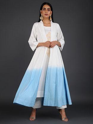 White-Blue Block-printed Cotton Kurta with Cape