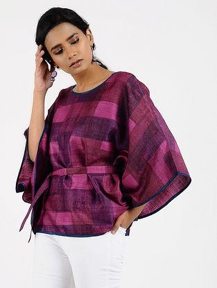 Purple Printed Tussar Silk Top