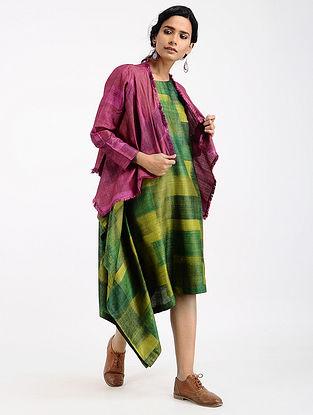 Purple Printed Tussar Silk Jacket