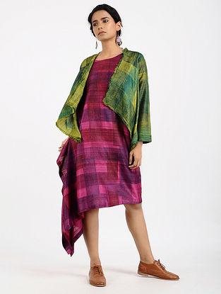 Green Printed Tussar Silk Jacket