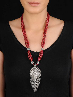 Red Beaded Silver Necklace with Deity Motif