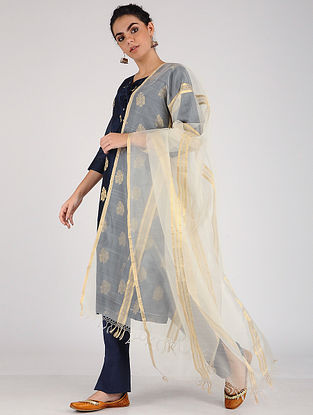 Ivory Silk-Cotton Dupatta with Zari