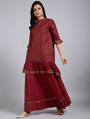 Berry Red Block-Printed Cotton Tunic with Gota