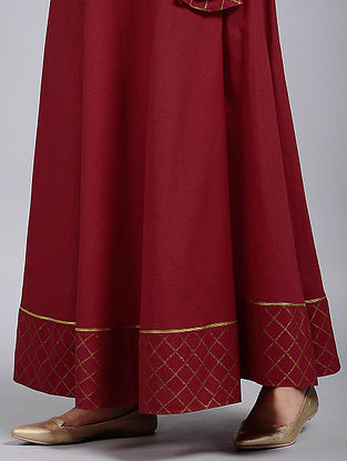 Berry Red Block-Printed Cotton Skirt with Gota