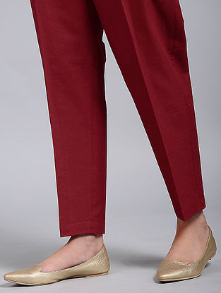 Berry Red Block-Printed Cotton Pants