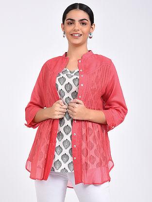 Pink Pintuck Chanderi Shirt with Block Printed Cotton Slip (Set of 2)