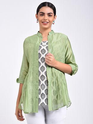 Green Pintuck Chanderi Shirt with Block Printed Cotton Slip (Set of 2)