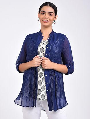 Indigo Pintuck Chanderi Shirt with Block Printed Cotton Slip (Set of 2)