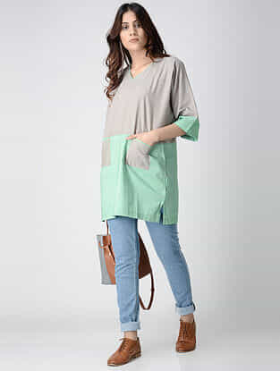 Grey-Green Cotton Chambray Tunic with Pockets