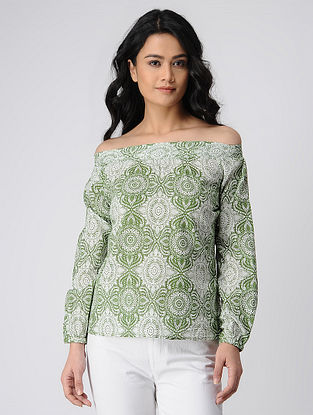 Green-Ivory Printed Off-Shoulder Cotton Top with Smocking