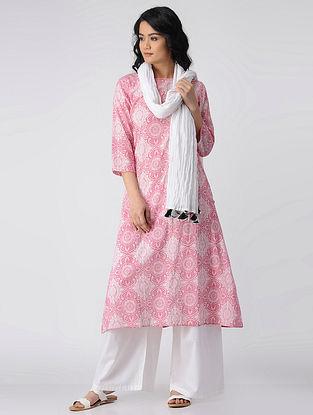 Pink-Ivory Printed Cotton Kurta with Pockets