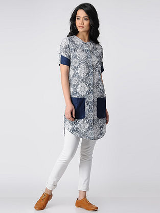 Indigo-Ivory Printed Cotton Front-open Tunic with Pockets