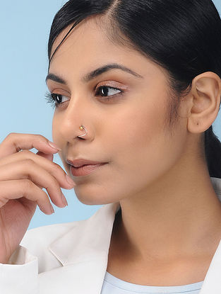 Dual Tone Silver Nose Pin