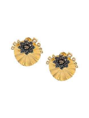 Blue Enameled Kundan-inspired Gold Tone Silver Earrings