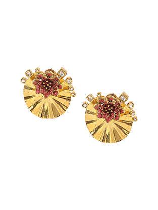 Pink Enameled Kundan-inspired Gold Tone Silver Earrings